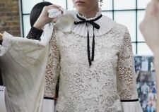 Erdem H&M Lace Blouse Pleated High Collar Bow Natural White UK 8 10 / EU 36 BNWT