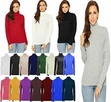 Womens High Polo Neck Ribbed Knitted Jumper Ladies Long Sleeve Plain Sweater Top