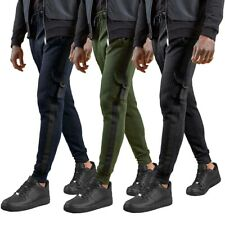 Skinny Fit Cargo Joggers Side Tape Track Pants Cuffed Bottoms  Mens Size