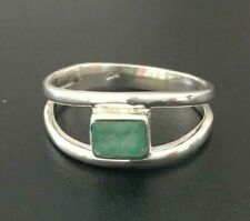 925 Sterling Silver Emerald Ring Square Rectangle Gemstone Stack Size 6 9