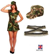 a0678ca7fd60a Ladies SEXY ARMY SOLDIER COSTUME Adult Girl Camo Uniform Fancy Dress Outfit  UK