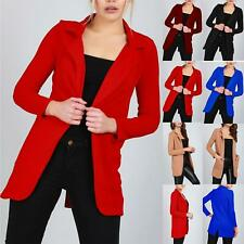 Ladies Womens Casual Long Sleeve Collared Open Front Duster Coat Blazer Cardigan