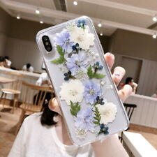 For iPhone XS MAX XR 8 7 6s Plus Real Dried Flower Clear Rubber Soft Case Cover