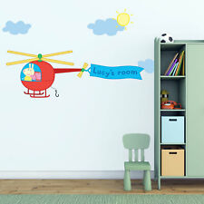 Personalised Peppa Pig helicopter wall sticker | Official Peppa Pig range
