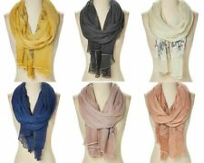 Women Wrap Scarf Polyester Shawl Floral Embroidered Casual Stole Long Scarves