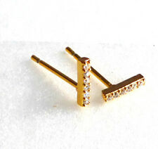 855736f7d I Shape STUD EARRINGS Tiny 7mm TRAINER 14K 24K Yellow Gold Plated Cubic  Zirconia