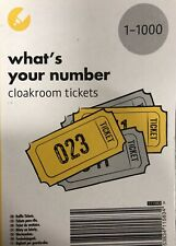 RAFFLE DRAW TICKETS CLOAKROOM BOOK NUMBERS 1 - 1000 WITH UNIQUE SECURITY CODES