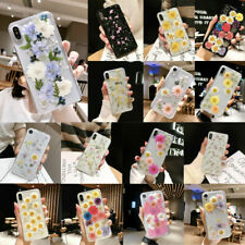 For iPhone XS Max XR 8 7 6 Real Dried Flowers Pattern Clear TPU Soft Case Cover