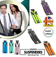 Elastic Braces Mens Womens Unisex Trouser Adjustable Y-Back Suspenders Clip on