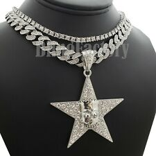 "Star of Simpson pendant & 18"" Iced Cuban & 1 Row Choker Chain Bling Necklace"