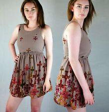 SLEEVELESS MINI SKATER DRESS MOCHA COLOUR WITH GOTHIC CRUCIFIX DETAIL 8 10 12