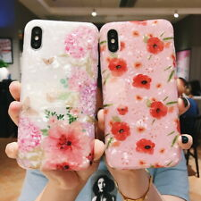 For iPhone Xs Max Xr X 8 7 6s Plus Flower Marble Pattern Glossy Soft Case Cover
