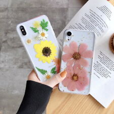Soft Clear Real Dried Flower Pattern Case Cover For iPhone Xs Max XR 7 8 Plus 6S