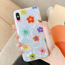 For iPhone XS Max XR 7 8 6 Cute Flower Shell Pattern Soft IMD Rubber Case Cover