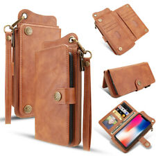 For iPhone Xs Max Xr X 7 8 Plus Leather Zipper Removable Flip Wallet Case Cover