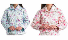 Slenderella Ladies Quilted Bed Jacket Floral Satin Style Button Up House Coat