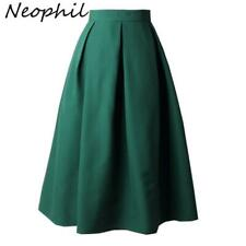 Neophil 2019 Summer Ladies Black Pleated Ball Gown Skater Midi Skirts Womens Sol