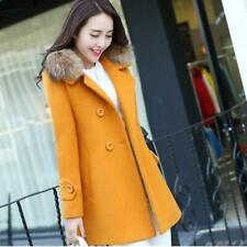 2018 Autumn Winter Trench Coat Solid Color Slim Thick Long Wool Coats Faux Fur C