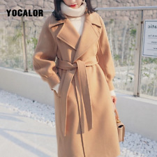 Plus Size Loose Warm Wool Blends Long Winter Coat Turn-down Collar Adjustable Be