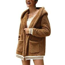 Fashion Women Solid Color Plush Hooded Cardigan Long Loose Warm Sweater Coat Lon