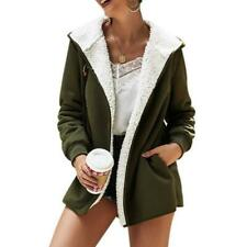 Women Solid Color Plush Hooded Cardigan Long Loose Warm Sweater Coat Long-sleeve