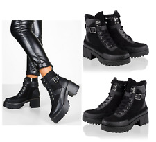 Womens Ladies Mid Block Chunky Heel Lace Up Biker Black Ankle Boots Shoes Size