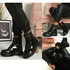 Womens Ankle Chunky Platform Boots Ladies Lace Up Zip Goth Punk Shiny Shoes Size