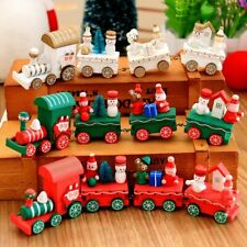 Christmas train painted wood Santa/bear/snowman kid toys gift ornament navidad