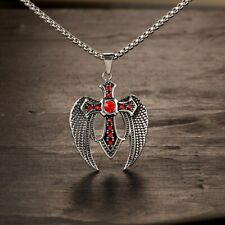 Wings Cross Pendant Chain Necklaces Angel Wing Christian Retro Punk Biker Gothic