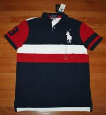 Mens Polo Ralph Lauren Custom SLIM Fit Polo Shirt BIG PONY Red White Blue *3B