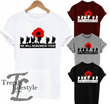 REMEMBRANCE DAY.. POPPY WE WILL REMEMBER THEM UNISEX MENS WOMEN'S KIDS T-SHIRT