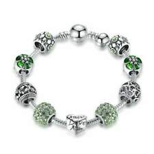 Antique Style Silver Charm Bracelet & Bangle with Love and Flower Beads