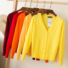 Knitted Coat Solid Color Women Cardigan Autumn Winter Casual V-Neck Long Sleeves