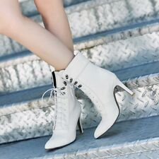 Leather Lace-up Stiletto Heels Pointed Toe Womens Gothic Party OL Ankle Boots SZ