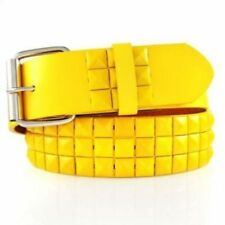 Leather Belt 3-Row Metal Pyramid Studded Unisex Punk Rock Goth Emo Biker YELLOW