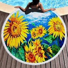 Floral Printing Beach Swimming Bath Towel Sunflower Round Home Yoga Mat Blanket