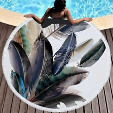 Feather Printed Large Round Beach Towel Microfiber Home Soft Yoga Casual Blanket