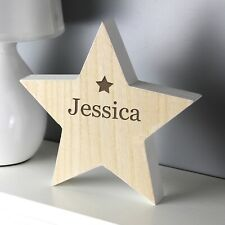Personalised Rustic Wooden Free Standing Star Decoration. Gift. Home.