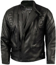 Mens CE ARMOURED LEATHER Motorcycle Motorbike BIKER JACKET Black All Sizes NEW