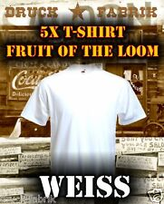 5x Fruit of the Loom T-Shirt uni weiß S-M-L-XL-XXL NEU