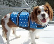 New Paws Aboard Blue Polka Dot Dog Life Jacket - Paws Aboard Preserver Vest