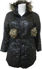 LADIES PLUS SIZE BLACK LONG PARKA PADDED QUILTED HOODED WINTER JACKET COAT 16-32