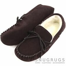 LADIES GENUINE SUEDE MOCCASIN SHEEPSKIN SLIPPERS SOFT SOLE DARK BROWN SIZES 3-9
