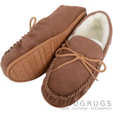 SNUGRUGS LADIES GENUINE SUEDE MOCCASIN SHEEPSKIN SLIPPERS HARD SOLE LIGHT BROWN
