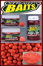 Strategy Baits Strawberry Fish Boilies Fluo Pop Up Dip 1kg  2,5kg 12mm 14mm 20mm