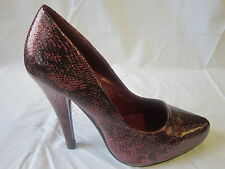 LADIES SPOT ON DEEP RED SNAKE SKIN EFFECT HIGH HEEL SHOES (F9318)