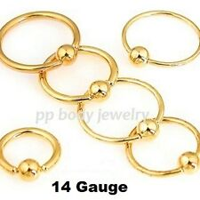 """2pcs. 14g~5/16"""" to 1/2"""" Gold Plated 316L Steel Captive Bead Ring Earrings Labret"""