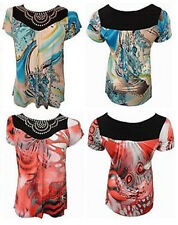NEW LADIES PLUS SIZE RETRO GRAPHIC PRINTED STUD DETAIL NECKLINE TUNIC TOPS 14-28