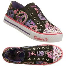 Girls Skechers Twinkle Toes Shuffles Lovable S Lights Trainers Shoe Sizes 10-4