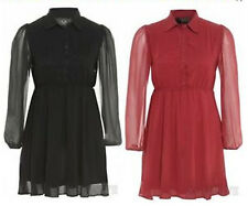 NEW LADIES PLUS SIZE BUTTON LONG SLEEVE CHIFFON COLLARED SKATER DRESS 16-26